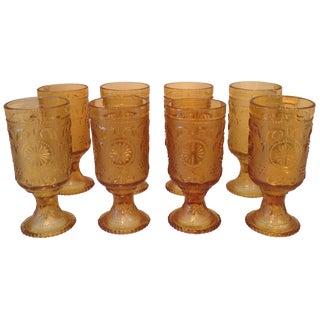 Vintage Amber Glass Tumblers - Set of 8