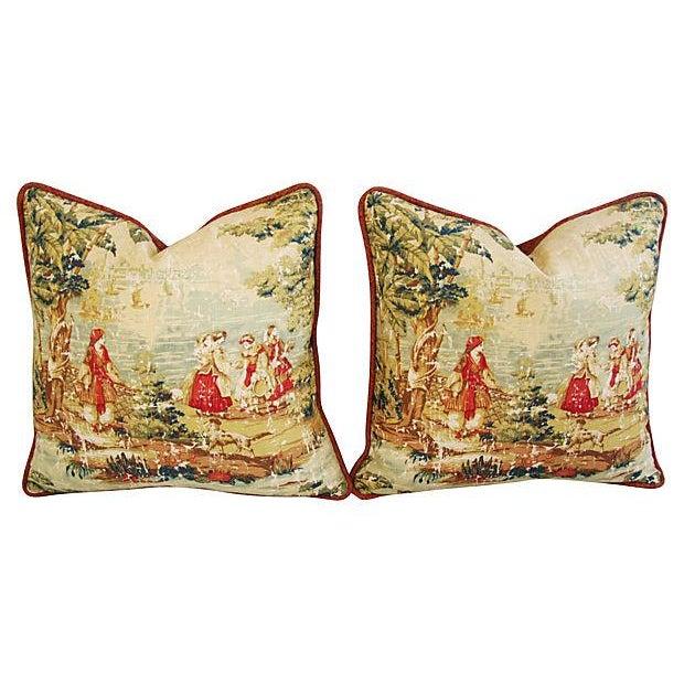 Vintage Custom Renaissance Toile Pillows - A Pair - Image 7 of 7