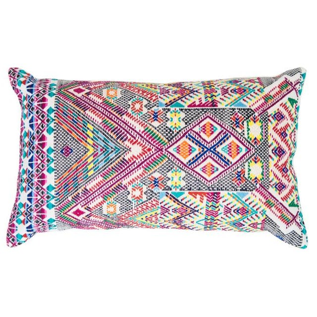 Colorful Red Handwoven Guatemalan Pillow - Image 1 of 5