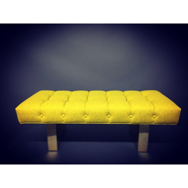 Mid-Century Modern Bright Yellow Tufted Bench on Brass Base - Image 3 of 11