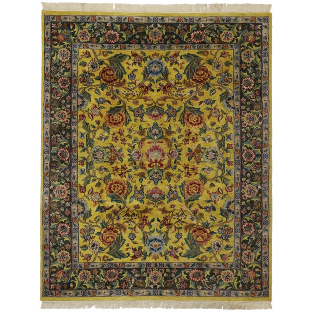"""Vintage Traditional Style Yellow Area Rug - 7'10"""" x 9'9"""" - Image 1 of 5"""