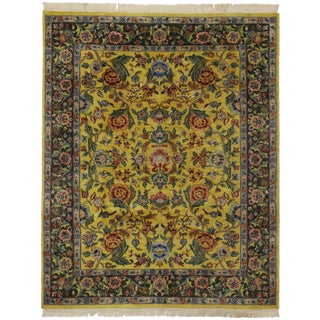 "Vintage Traditional Style Yellow Area Rug - 7'10"" x 9'9"""