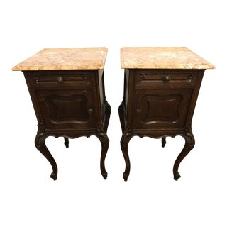 French Louis XV Carved Marble Top Nightstands - A Pair