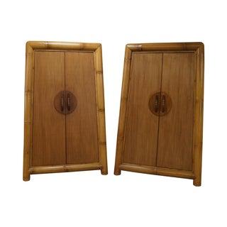 Large Bamboo Rattan Armoires - Pair