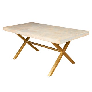 Selamat Designs Justinian Mango Wood & Brass X Based Dining Table