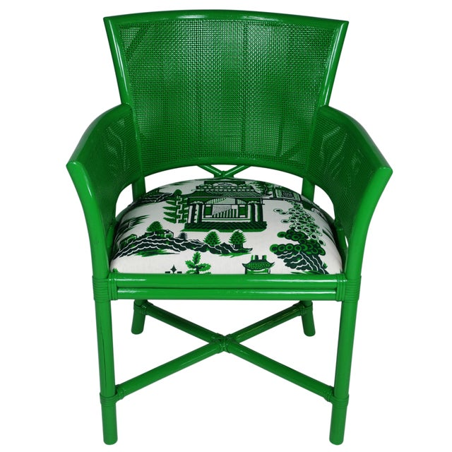 Ficks Reed Green Rattan Armchairs - Set of 4 - Image 2 of 5