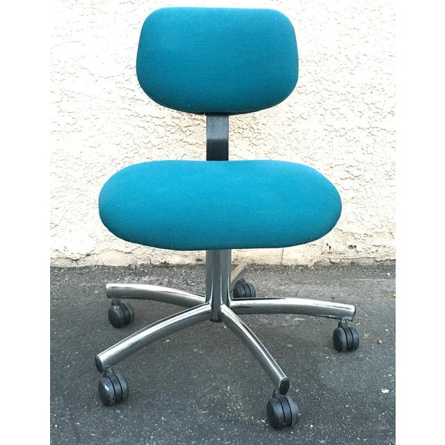 Steelcase Modern Teal Swivel Office Chair | Chairish