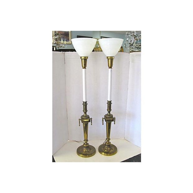 Image of Tall Stiffel Brass Lamps - A Pair