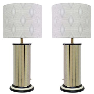 Paneled Mirror Lamps, Pair