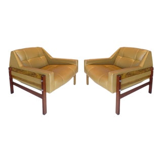 Brazilian Jacaranda Wood Mid-Century Club Chairs by Percival Lafer