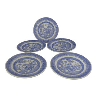 Vintage Blue Willow Spode Bread Plates - Set of 5