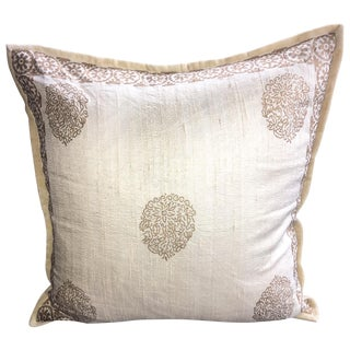Luxury Raw Silk Block Print Decorative Pillow