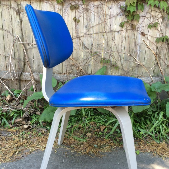 Blue Vinyl and Light Grey Thonet Side Chair - Image 4 of 5