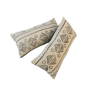 African Mudcloth Bogolan Lumbar Pillows - a Pair
