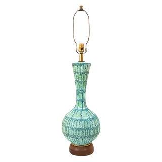 Mid-Century Modern Blue Green Lava Glaze Pottery Lamp