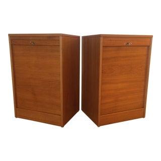 Danish Modern Teak Tambour Doors Filing Cabinets - A Pair