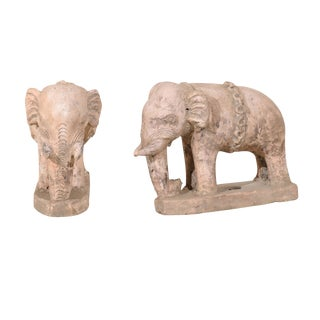 Pair of 20th Century British Colonial Terracotta Elephants