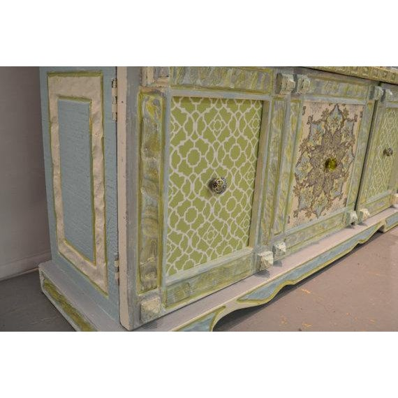 Painted & Wallpapered China Cabinet - Image 4 of 5