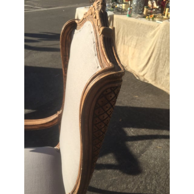 Distressed French Provincial Nailhead Trim Armchair - Image 4 of 5