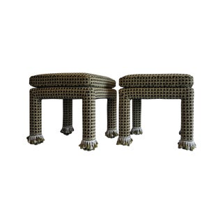 Upholstered Green & Black Parson's Stools - A Pair