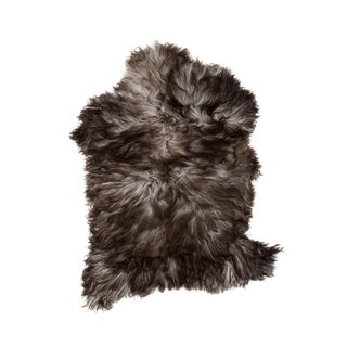 Handmade Brown & White Sheepskin Rug - 2′ × 3′4″