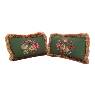 Floral Needlepoint Pillows - A Pair