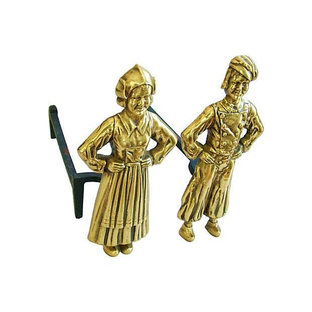 1940s Brass Dutch Fireplace Andirons - Image 2 of 5