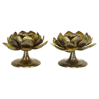 Brass Blooming Lotus Candleholders - A Pair