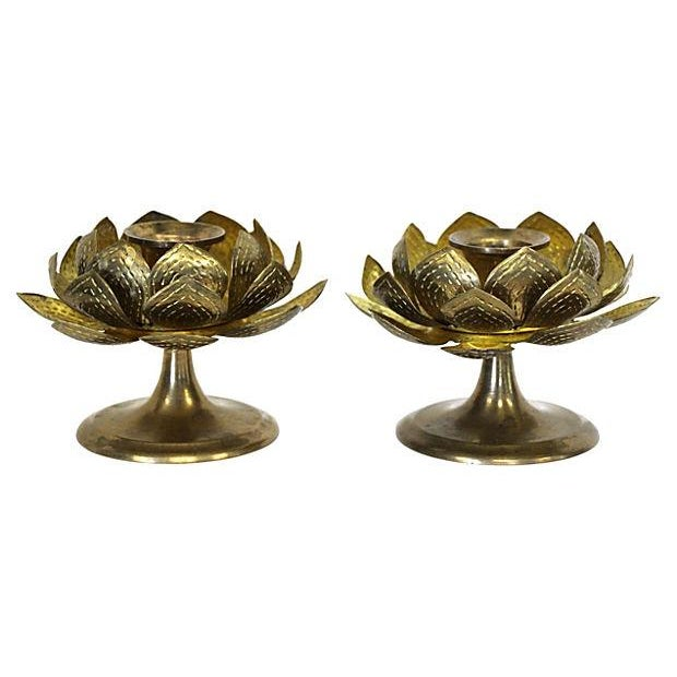 Image of Brass Blooming Lotus Candleholders - A Pair