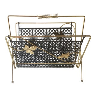 Mid Century Brass Wrought Iron Mesh Magazine Rack