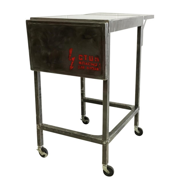 Industrial Metal Cart With Russian Industrial Sign - Image 1 of 6