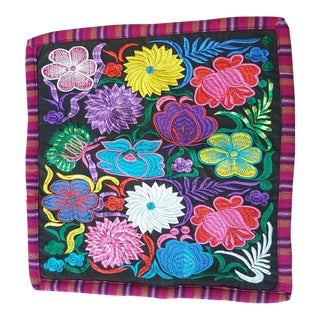 Ecuadorean Hand Embroidered Floral Pillow Cover
