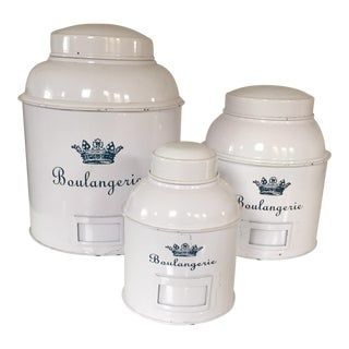 White Metal Canisters - Set of 3