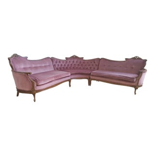 Vintage French Provincial Pink Velvet Sectional Sofa