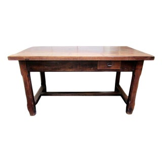 Antique Rustic French Chestnut Writing Table