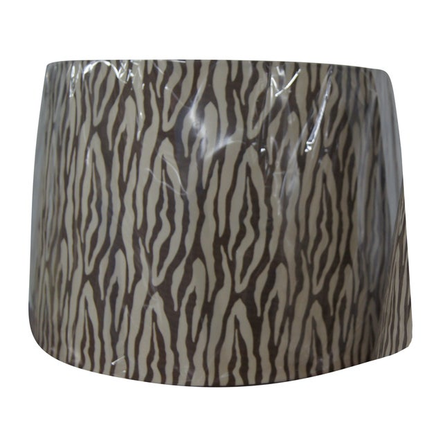 Modern Brown & Cream Patterned Lamp Shades - Image 1 of 4