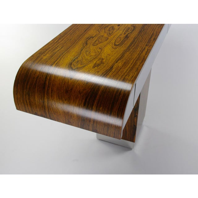 Rosewood & Chrome Pedestal Console - Image 10 of 11