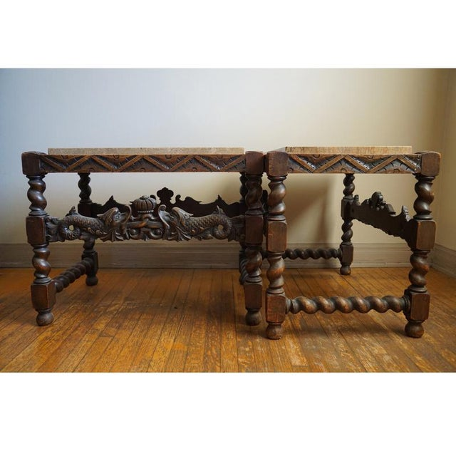 Pair 19th Century Jacobean End Tables - Image 3 of 10