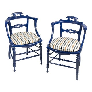 Siam Blue Chippendale Chairs - A Pair