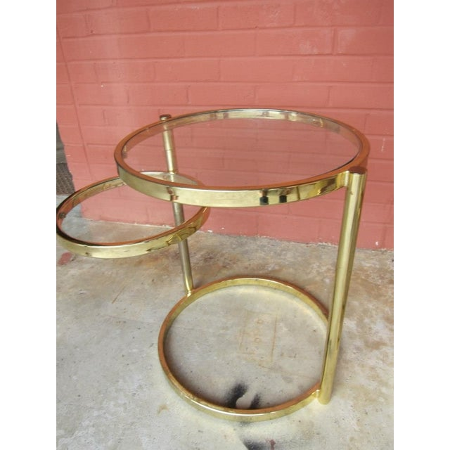 Round Brass And Glass Swing Out Coffee End Tables Chairish