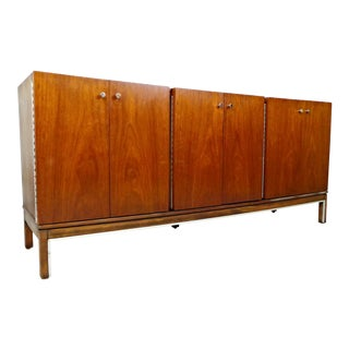 American of Martinsville Walnut & Chrome Credenza