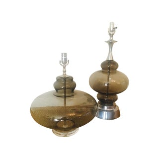 60's Genie Style Smoked Glass Lamps - Pair