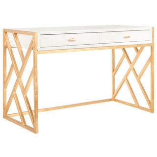 Worlds Away White Lacquer & Gold Leaf Lattice Desk