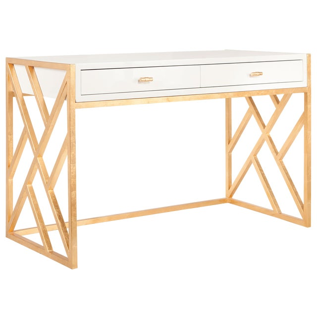 Worlds Away White Lacquer & Gold Leaf Lattice Desk - Image 1 of 3