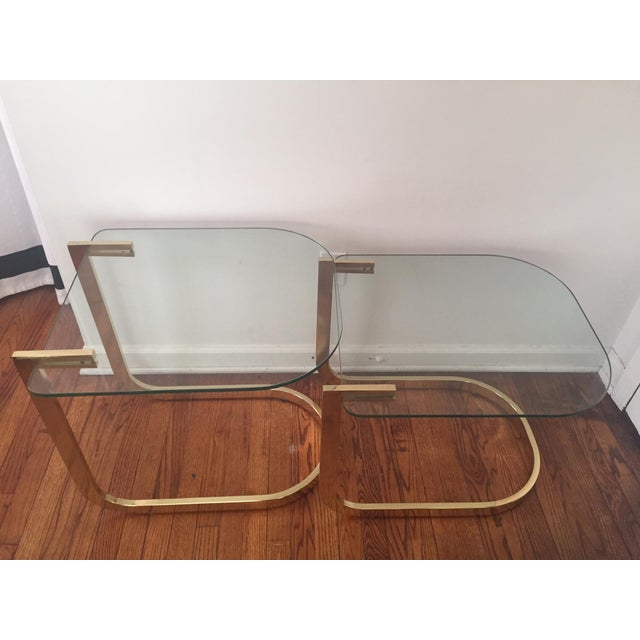 Image of Milo Baughman Cantilevered Brass Nesting Tables