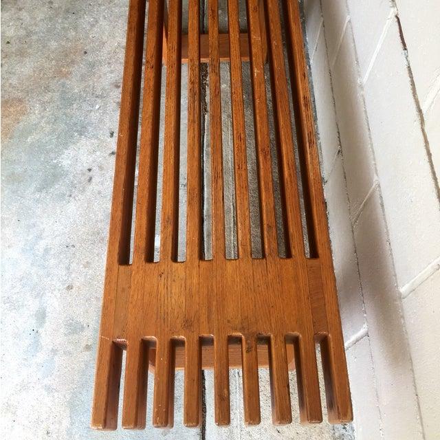 Vintage Oak Slatted Bench - Image 4 of 6