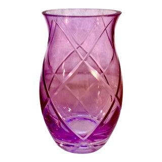 Antique Amethyst Manganese Cut Crystal Vase