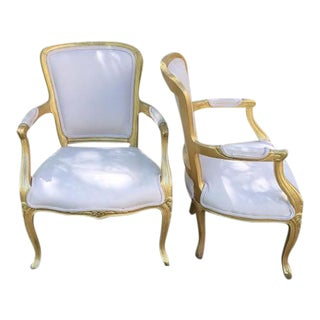 Vintage Ivory Linen Upholstered Armchairs - A Pair