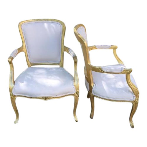 Vintage Ivory Linen Upholstered Armchairs - A Pair - Image 1 of 7