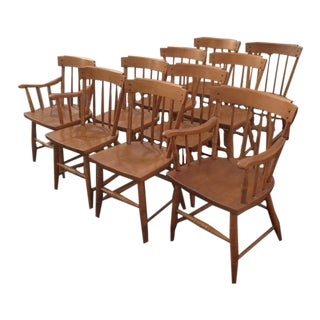 Heywood Wakefield Wood Dining Chairs - Set of 10